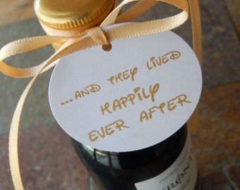 "Disney Inspired 2"" Wedding Favor Tags... and They Lived Happily Ever After - For Mini Wine Bottles - Wedding or Anniversary - (40) Tags"