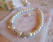 Swarovski Pearl and Rhinestone Bracelet and Earring Set/Bridemaid or Bride Jewelry Set/Weddng Jewelry Set/Bridal Jewelry