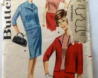 60s Butterick 2178 Boxy Suit with Skirt & Jacket and Overblouse - Size 16 Bust 36