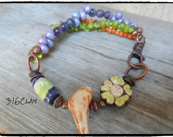 Bracelet Multi Strand Bracelet  Boho Colorful Purple Orange Green