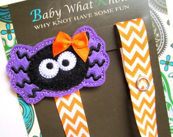 Pacifier Clip, Halloween, Spider, Girl Pacifier Clip, Pacifier Holder, Binky Clip, Baby Gift, Paci Clip, Universal Pacifier, pcholiday13