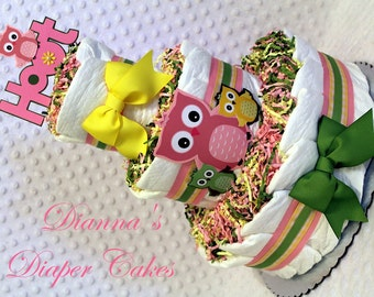 Owls Baby Diaper Cake Girls Shower Gift or Centerpiece