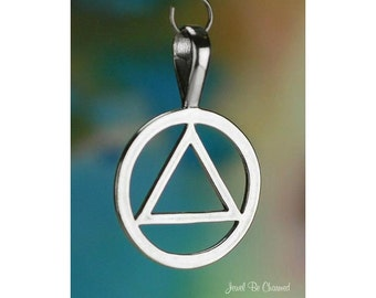 Sterling Silver Triangle in a Circle Pendant Recovery Symbol Solid 925