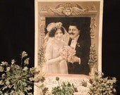 Real Photo Postcard - Wedding - Man  - Woman  - Pink Rose Bouquet - Antique Photo