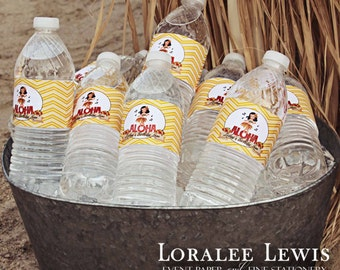 Aloha Water Bottle Labels by Loralee Lewis