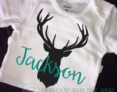 PERSONALIZED deer head Baby Boy bodysuit, black and teal blue baby shirt, baby boy announcement, Take Home Outfit, Newborn baby, Antlers