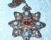 Vintage Large Big & Bold Silvertone w/inset stones necklace