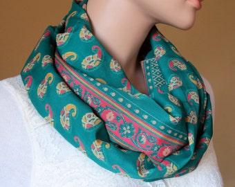 Scarf Beautiful Sari Scarf Versatile Upcycled VINTAGE Sari - floral emerald green - autumn winter accessories