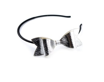 Headband with silver bow made of eco leather