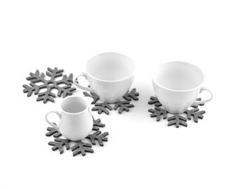Felt coasters snowflakes shape FS1, four elements