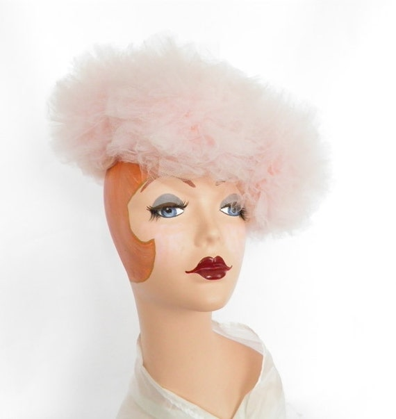 Reserved for A.  1950s pink hat, vintage tilt tulle poof
