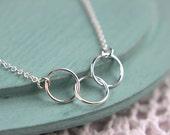 SALE, Circle Necklace, Eternity Necklace, Sterling Silver Three Circle necklace, Best Friends Necklace, Sisters Jewelry, Friendship Jewelry