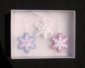 Set of 3 Handmade sequined felt Snowflakes
