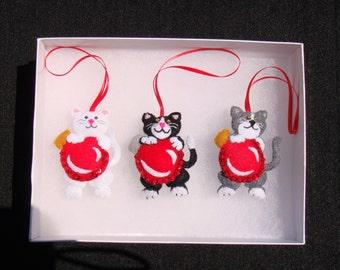 Set of 3 Kitty Christmas Ornaments