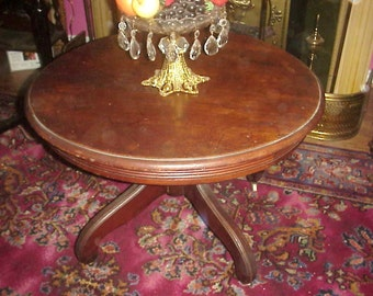 1860's Victorian Walnut Round Coffee Table - Museum Deaccession