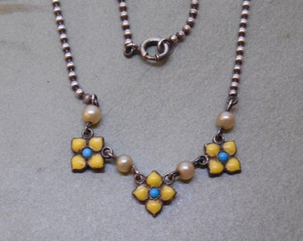 Tiny Yellow Enamel Sterling Silver Flower Baby Necklace w/ Sterling Bead Chain     MBU46