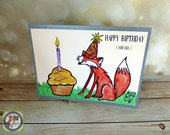 Happy Birthday You Fox card Giant Cupcake with Sprinkles Pewter Silver Card Stock