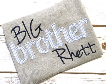Big Brother Shirt - Blue Seersucker Shirt - Pregnancy Announcement - Gray Embroidered Big Brother Top - Custom Brother Top - Maternity Photo