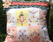 Upcycled 16 inch Square Pillow from Dutch Print Vintage Tablecloth.