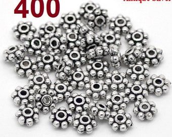 400 pcs Antique Silver Snowflake Daisy Spacer Beads- 5mm