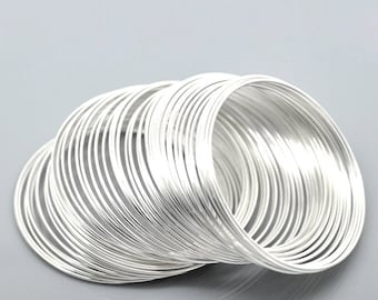 Silver Plated Memory Beading Wire for Bracelets 50-55mm -100 Loops