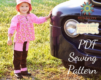 SEWING PATTERN, Child Pants Pattern, Sew Toddler Clothes, Cuffed Kids Pants, Sew Kids Clothes, Elastic Waist Pants, Kids Clothes Sewing