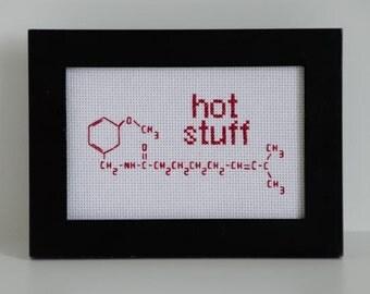 CAPSAICIN-HOT STUFF (red capsaicin molecule in chili peppers wall or desk art)