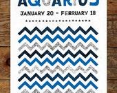 11x14 Zodiac, Aquarius Art Print, Modern, Geometric, Typography, Illustration