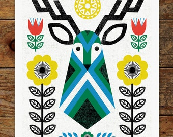 Folk Deer, Scandinavian, Folk Art, 11x14 Art Print