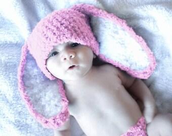 SUMMER SALE 0 to 3m Newborn Hat, Baby Pink Bunny Hat, Newborn Baby Hat, Bunny Hat Baby Shower Gift Baby Girl Bunny Photo Prop   Baby Gift