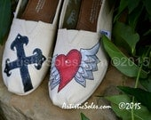 """Custom TOMS Shoes- """"Iron Cross"""" with PAINTED heart wings - SILVER"""