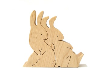 Wood Rabbit Pair, Whimsical Rabbit Decoration, Wooden Easter Bunny,  Two Piece Bunny Figurine, Easter Rabbit Decoration, Maple