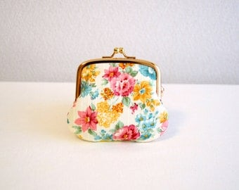 Elegant floral tiny coin purse - white, pink, blue, Handmade in Japan.