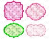 Digitizing Dolls Applique Frame Set 1 - Set of 4 Embroidery Designs 3x3 4x4 5x5 Font Patch Monogram INSTANT DOWNLOAD