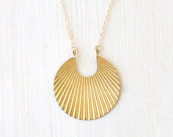 Modern Brass Corrugated Fan Necklace - 14K gold filled chain // Simple everyday minimalist jewelry