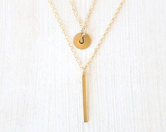 Stamped 14K Gold Filled Initial Circle and Long Bar Layering Necklaces Set // Everyday modern simple jewelry