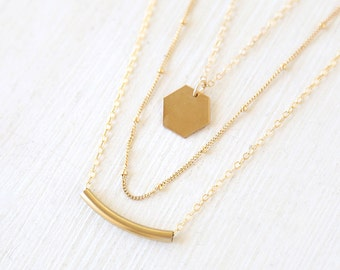 14K Gold Filled Hexagon, 14K Gold Filled Tube, Simple Dotted Layering Necklaces Set // Everyday jewelry
