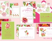 Lily Invitations - Watercolor/Watercolour Waterlily Wedding Invitations - Watercolor/Hot Pink/Fuchsia/Lime Green/Lilies/Digital or Printed