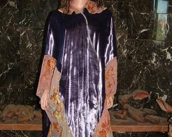 On Sale! Upcycled KIMONO Style SILK Velvet Purple And Saffron Robe PLUS