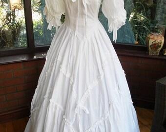 Vintage LAURA Ashley WEDDING Gown Dress COTTON Ribbons Medium