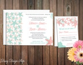 Wedding Invitation - Starfish and Seashells Watercolor - Invitation and RSVP Card with Envelopes