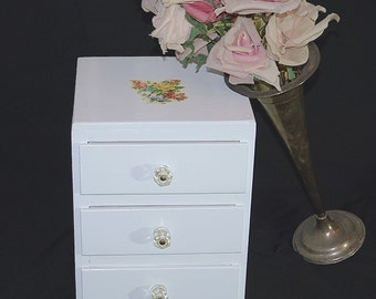 Vintage Wooden Cottage Chic Cabinet / Painted White Wood Jewelry Box Chest of Drawers Shabby Cottage Storage Cupboard / Pandora's Stash Box
