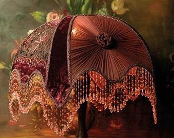 Victorian Fringe Beaded Burgundy Velvet Ornate Lamp Shade