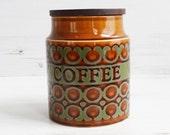 Vintage Coffee Canister - Hornsea Bronte Pot Holder Kitchenware Holder Orange Green