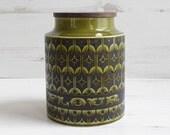 Vintage Flour Barrel Canister - Hornsea Heirloom Pot Holder Kitchenware Holder Green