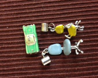 3 Enamel Retro Charms - rolling desk chairs and a convertible!