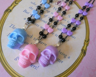 Pastel Goth skull necklace and heart beads