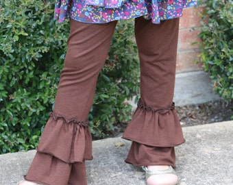 brown knit leggings with double ruffles sizes 12m - 12 girls