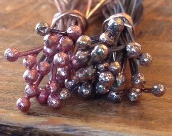 15 Pieces - 20 Gauge - 2.5 inch Ball Tipped Pure Copper Head Pins - Hand Forged - Handmade - Custom - Rose - Bronze - Antiqued - Oxidized
