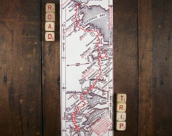 Vintage Cape Cod Canal Massachusetts to Providence Rhode Island Vintage Road Map Unique Gift